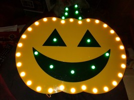 Lighted  ICON. Pumpkin plaque 42 lights 12 x12 1/2 hard plastic with ada... - £22.54 GBP