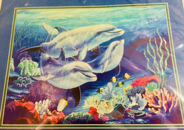 Dolphins Counted Cross Stitch Kit Under Water Tranquillity Ocean Coral Reef Rare - $28.69