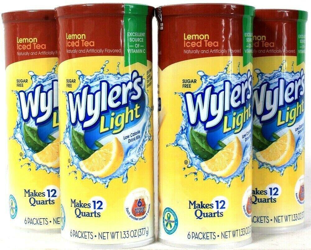 4 Packs Wyler's 1.33 Oz Light Lemon Iced Tea Sugar Free 6 Count Pitcher Packets - $23.99