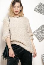Fluffy knit jumper - 90s vintage beige sweater - $40.11