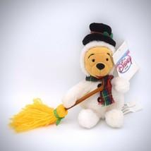 Disney Snowman Mini Bean Bag Plush Winnie the Pooh Off White Plaid Scarf Broom - $19.79