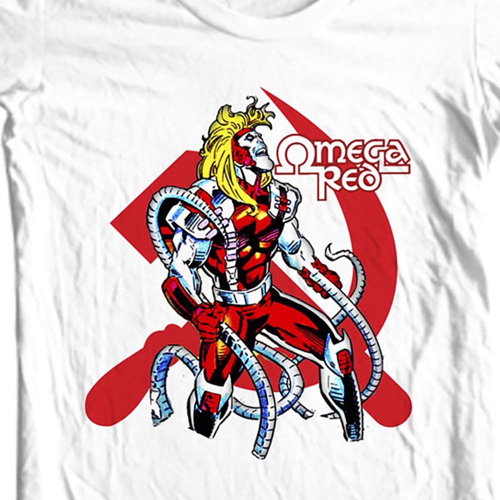 Omega Red t-shirt white retro comic books Marvel super villain graphic tee