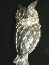 "Hootie Hoot Owl Bird Pin Brooch Silvertone 2 1/2"" Aurora Borealis Rhines... - $24.10"