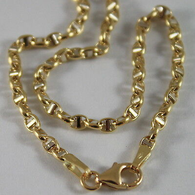 18K YELLOW GOLD CHAIN NECKLACE SAILOR'S OVAL NAVY LINK 19.69 IN. MADE IN ITALY