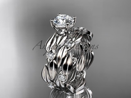 engagement ring set, 14kt white gold diamond leaf wedding set with a Moi... - $1,870.00