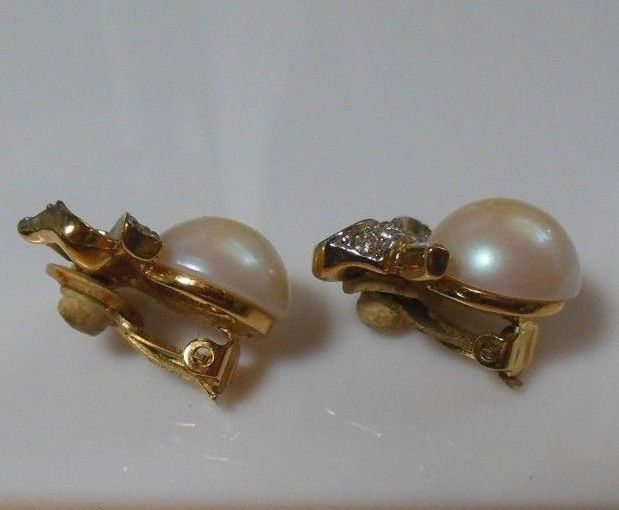Vintage Signed Nina Ricci Faux Pearl & Rhinestone Bow Clip-on Earrings