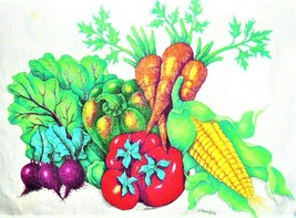 Vintage 60's 70's~Heavy Linen/Canvas Full BIB  APRON  Fruit Print  deep ... - $18.69