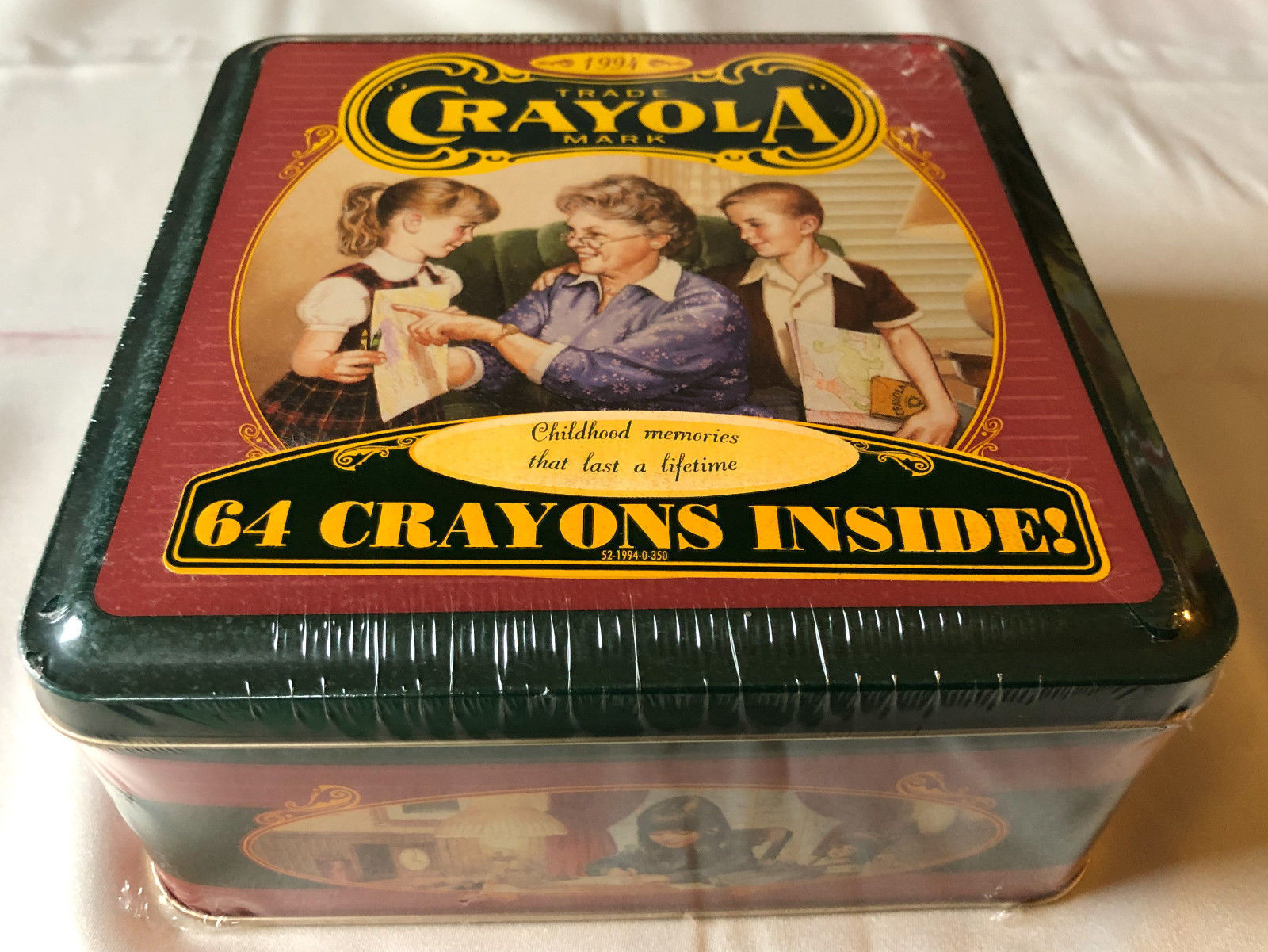 Primary image for VINTAGE CRAYOLA 1994 CRAYONS 64 CT. TIN, CHILDHOOD MEMORIES - NEW