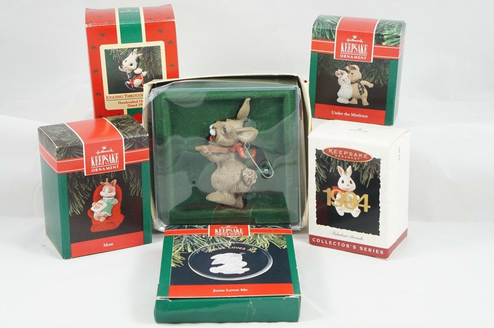 Primary image for Set of 6 Vintage Bunny Rabbit Hallmark Christmas Tree Ornaments '87-'94