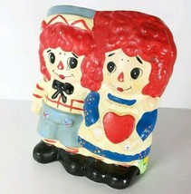 Sweet Vintage 1970's Raggedy Ann and Andy Love Heart Planter Vase, Nurse... - $18.66