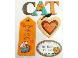 Chipboard and Glittered Large Cat Stickers, Set of 4