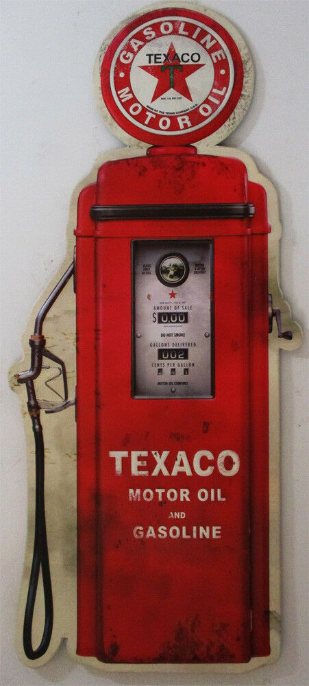 Embossed / Shaped Texaco Gas Pump Metal Sign image 1