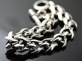 Mens Sterling Silver Bracelet Handcrafted Heavy Chain Warrior Rider Hip Hop b19 image 2