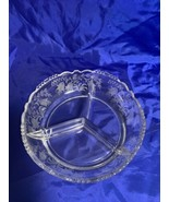 Vintage 1940's Tiffin Glass Fuchsia Etched 3-Part Relish Dish in Clear C... - $18.69