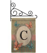 Butterflies C Initial Burlap - Impressions Decorative Metal Fansy Wall Bracket G - $33.97