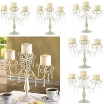 6 Ivory Candelabra Candle Holder Curlicues Crystal Wedding Centerpieces - $101.59