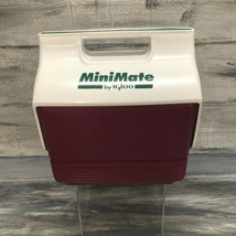 Vtg 90's Igloo MiniMate Cooler Button Ice Chest Lunch Box Maroon Cranberry Green - $14.80