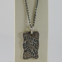 """925 BURNISHED SILVER NECKLACE WITH PLATE """"stronger than yesterday"""" MADE IN ITALY image 1"""
