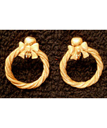 Avon Wreath Earrings Clip On VTG Gold Plated Hoops Hypo-Allergenic Nickel Free - $19.77