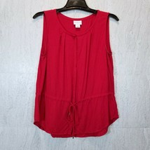 LIZ CLAIBORNE Womens Red Sleeveless Top Size L Rayon Drawstring Waist Bl... - $16.10
