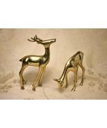 Vintage Brass Buck Doe Deer Pair Set of Two - $49.49