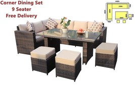 Luxury Corner Sofa Dining Set Garden Outdoor Rattan Furniture 9 Seater B... - $920.61