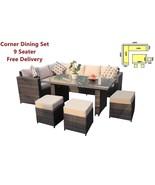 Luxury Corner Sofa Dining Set Garden Outdoor Rattan Furniture 9 Seater B... - $920.61