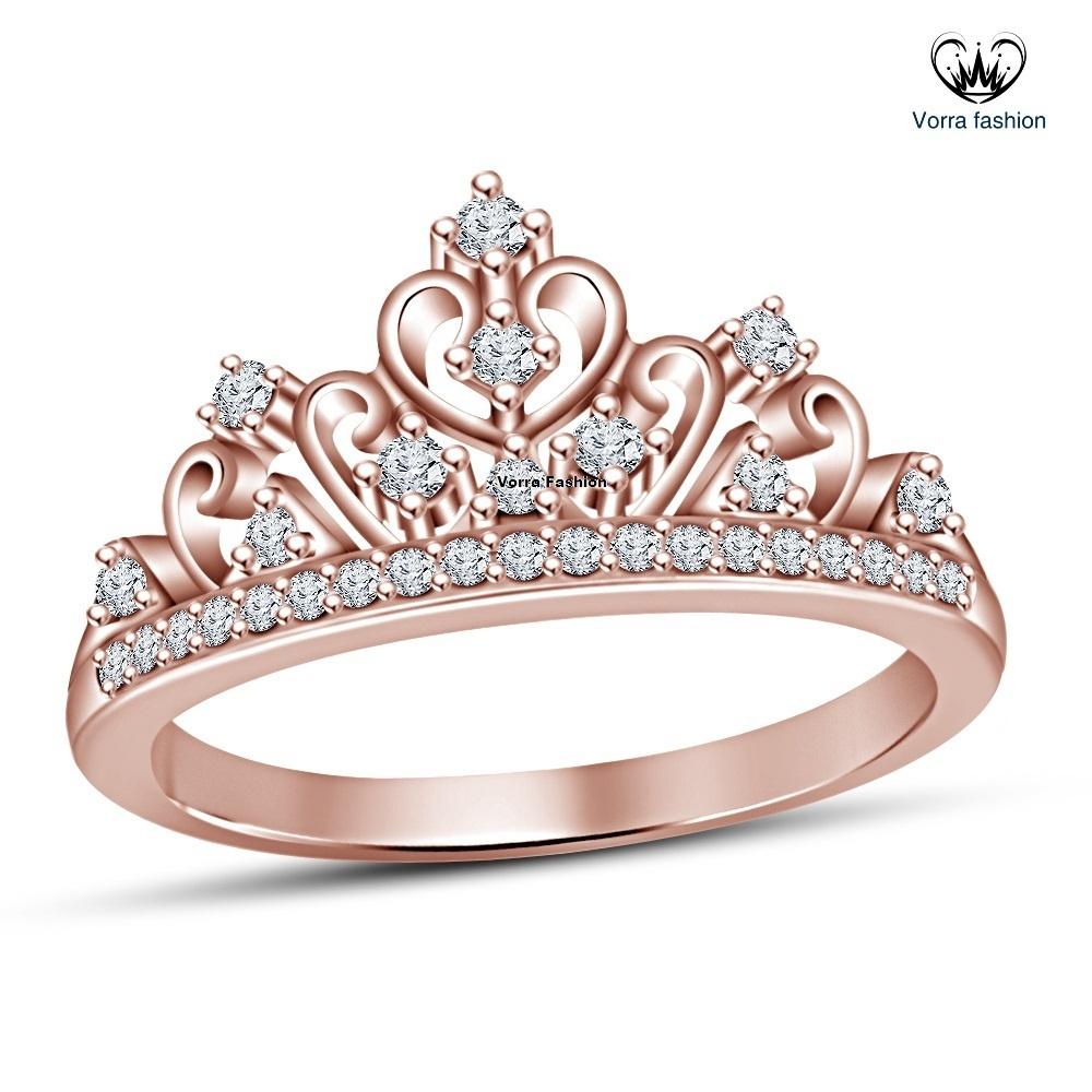 Disney Princess Promise Rings: Women's 18k Rose Gold Plated 925 Silver Disney Princess