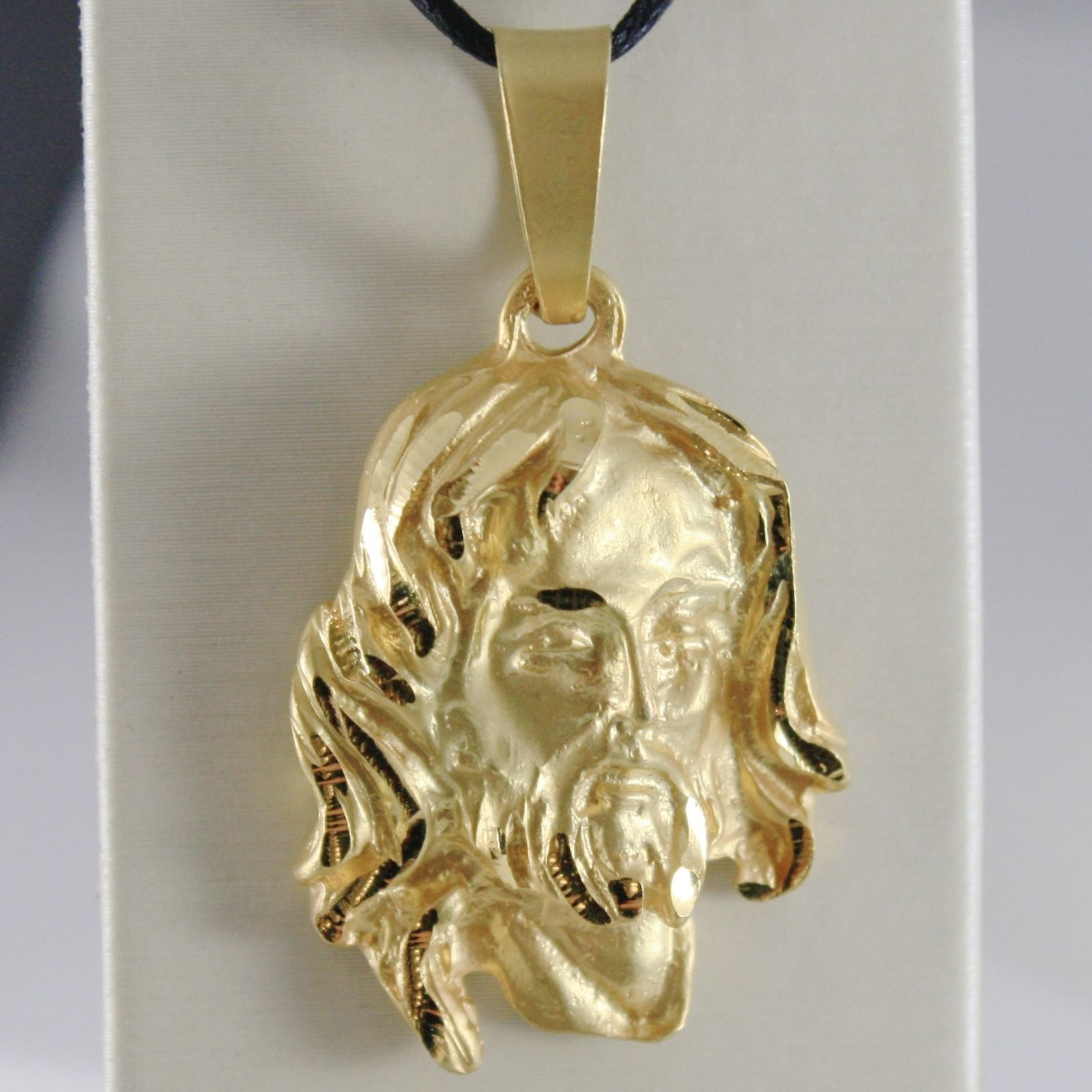 18K YELLOW GOLD JESUS FACE PENDANT CHARM 45 MM, 1.8 IN, FINELY WORKED ITALY MADE