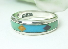 Southwestern Sterling Channel Turquoise Inlay Band Ring Size 7 - $54.00