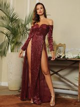 Bardot V-Neck Sequin Thigh High Split Wine Red Maxi Club Dress - $59.95