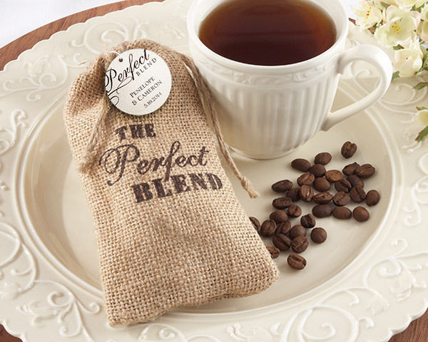 Perfect Blend Burlap Coffee Bag Bridal Wedding Favor Personalized Opt 60 or 96
