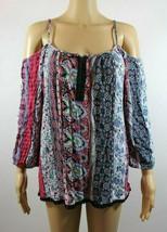 Deb Womans Top Size L Blue Paisley Multi Color Stripe Cold Shoulder Blouse - $21.55