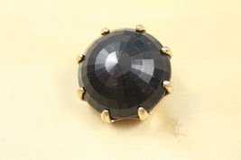 Vintage 1980s 80s Gold Tone Black Gem Round Oversized Single Clip on Ear... - $12.86