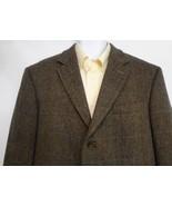 Banana Republic Mens 42R 3 Button Green Herringbone Plaid Wool Sport Coat  - $73.01