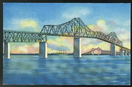 SC Charleston Grace Memorial Bridge Cooper River Curteich 1952 Postcard - $4.99