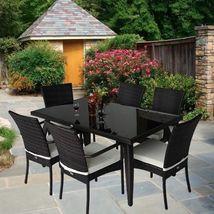 Rattan Garden Dining Set 7pcs Luxury Patio Furniture Rectangular Table 6 Chairs image 5