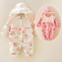 Newborn Baby Girl Clothe Thicken Infant Princess Jumpsuit Cotton Baby Ro... - $36.99