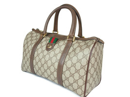 GUCCI Vintage GG Pattern PVC Canvas Leather Browns Hand Bag GH2226 - $319.00
