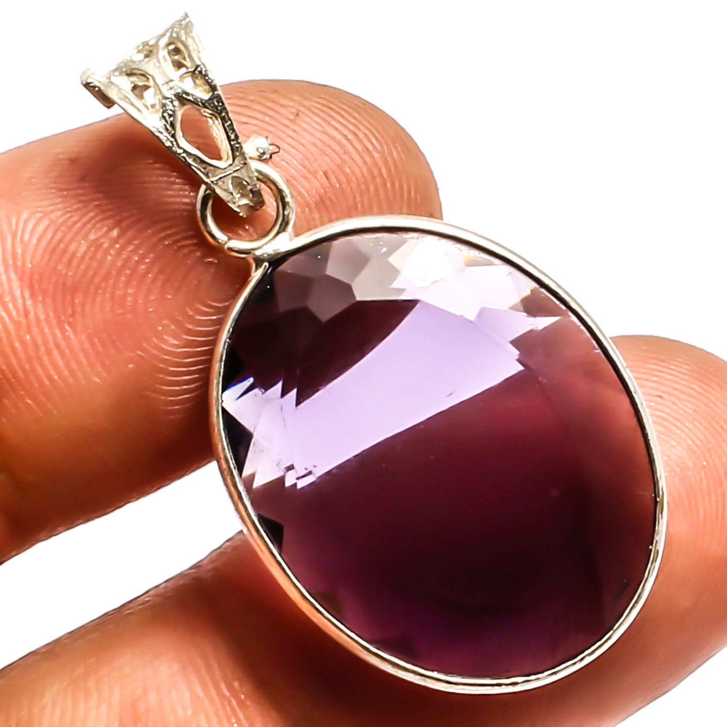 """African Amethyst  925 Sterling Silver Overlay Pendant Fashion Jewelry Sz 1.4"""""""