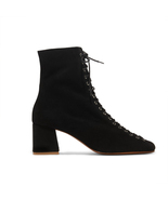 BY FAR Becca Lace-up Black Suede Ankle Heeled Boots - $375.00