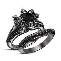 Lotus Vintage Wedding Band Diamond Black Gold Plated 925 Silver Bridal R... - $95.99