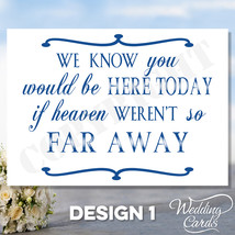 Memory Wedding Sign Card - Remembering Loved Ones - Display at wedding A... - $4.04