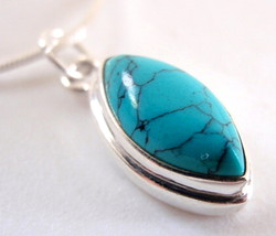 Turquoise Marquise Cabochon 925 Sterling Silver Pendant New - $8.90