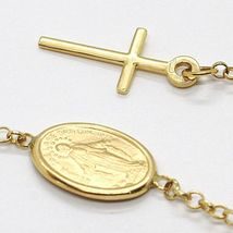 18K YELLOW GOLD  ROSARY BRACELET, 5 MM SPHERES, CROSS & MIRACULOUS MEDAL image 3