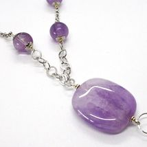925 Silver Necklace, Amethyst Round and Rectangular, Smoky Quartz Oval, Pendant image 4