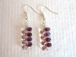 Handmade Purple and Pink Czech Glass Drop Silver Tone Earrings, Free U.S... - $5.70