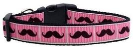 Mirage Pet Products Pink Striped Moustache Ribbon Dog Collar, Medium - $15.75