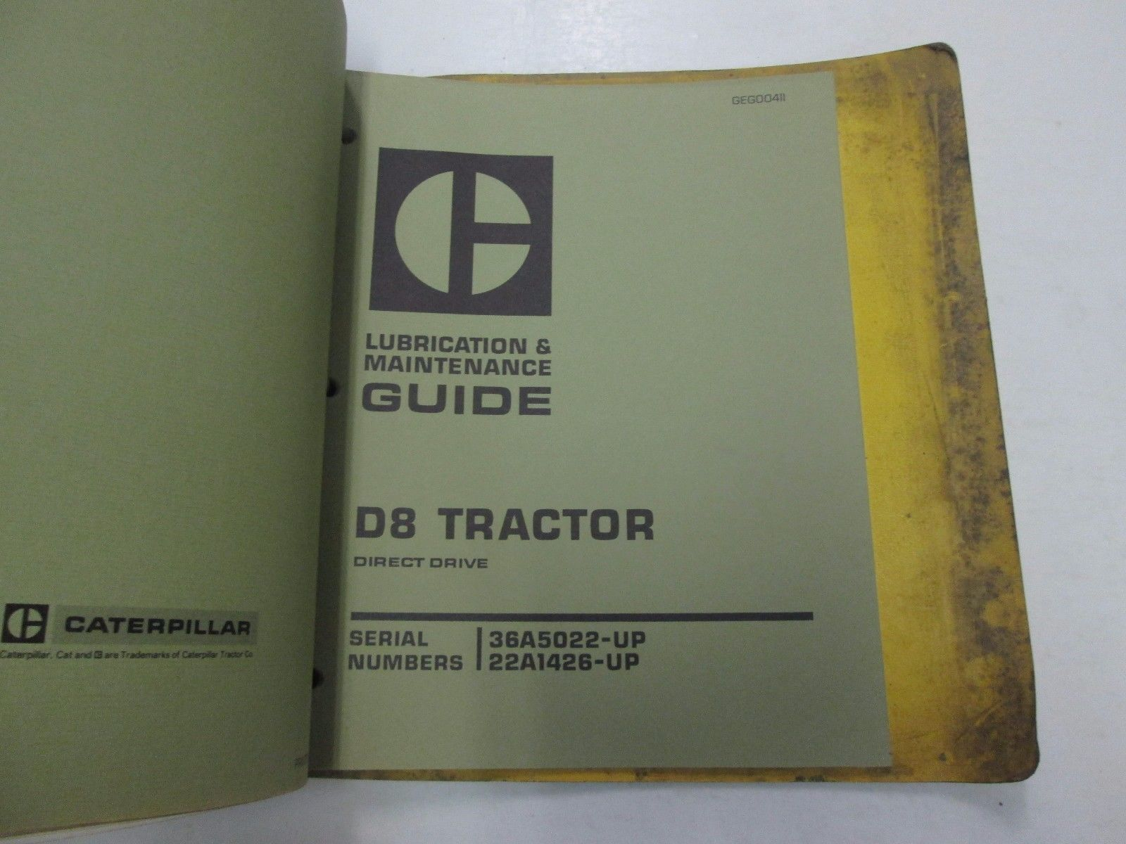 """... Caterpillar D3 D8 Tractor 5.75"""" Bore 6 CYL Service Manual BINDER STAINS  ..."""