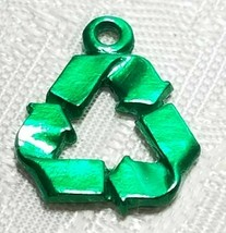 RECYCLING SYMBOL FINE PEWTER PENDANT CHARM 18x14.5x2mm